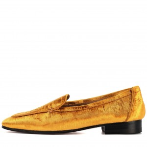 Mustard Round Toe Flat Loafers for Women