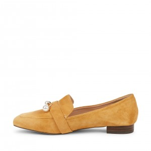Mustard Square Toe Loafers for Women Comfortable Flats with Pearl
