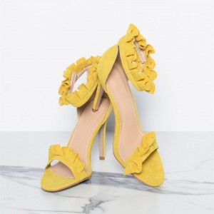Yellow Stiletto Heels Dress Shoes Ankle Strap Suede Ruffle Sandals