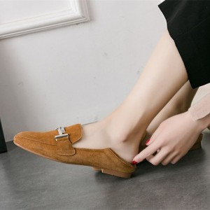 Mustard Suede Square Toe Flats Vintage Loafers for Women US Size 3-15