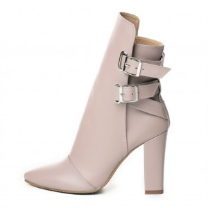 Natural Color Chunky heel Boots Buckle Ankle Boots for Women