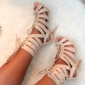 Natural Color Lace Up Gladiator Heels Stiletto Heel Sandals
