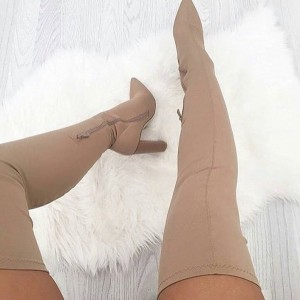 Natural Color Suede Thigh High Heel Boots Chunky Heel Boots