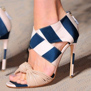 Women's Blue and White Stripes Strappy Open Toe Stiletto Heels Sandals