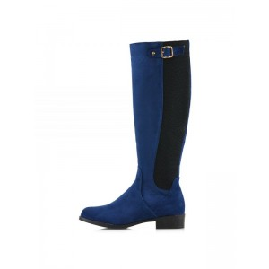 Navy and Black Contrast long Boots Round Toe Flat Knee-high Boots