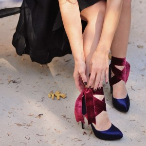 Navy And Burgundy Strappy Heels Satin Round Toe Pumps