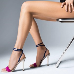 Navy and Orchid Suede Stiletto Heel Ankle Strap Sandals