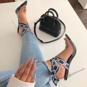 Navy and White Cross Over Clear Heels Sandals