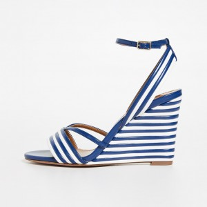Blue and White Stripe Wedge Heels Open Toe Ankle Strap Sandals