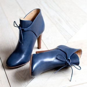 Navy Blue Boots Round Toe Lace up Ankle Booties