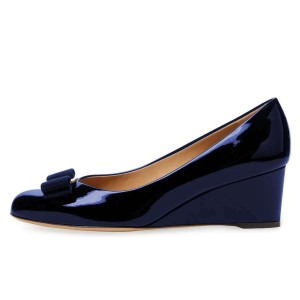 Navy Bow Closed Toe Wedges Patent Leather Pumps