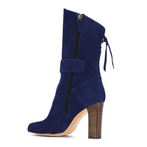Blue Suede Square Toe Boots Back Lace up Chunky Heel Mid Calf Boots