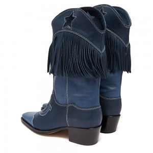 Navy Embroider Fringe Cowgirl Boots Block Heel Mid Calf Boots