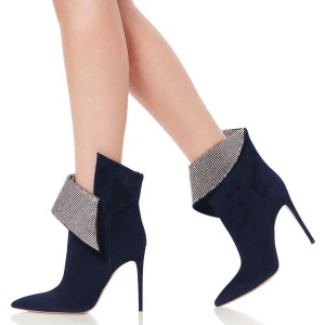 Navy Fold Over Rhinestones Pointy Toe Stiletto Heel Ankle Booties