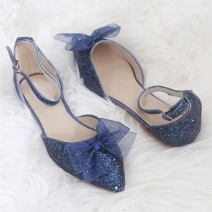 Navy Glitter Mesh Bow Ankle Strap Comfortable Flats