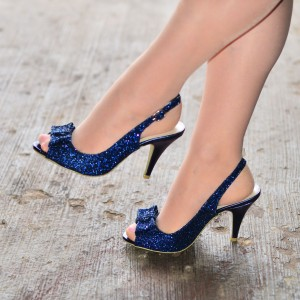 Navy Glitter Shoes Bow Slingback Stiletto Heel Sandals