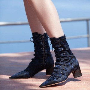 Navy Lace Up Boots Pointy Toe Chunky Heel Boots