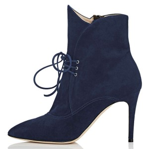 Navy Lace Up Boots Pointy Toe Stiletto Heel Ankle Boots