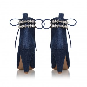 Navy Denim Boots Studs Cone Heel Rhinestone Lace up Ankle Booties