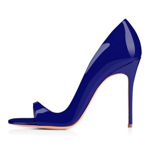 Indigo Blue Office Heels Patent Leather Open Toe D'orsay Pumps