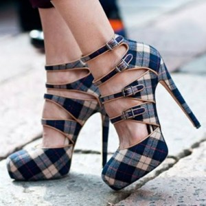 Navy Plaid Buckles Ankle Strap Heels Pumps