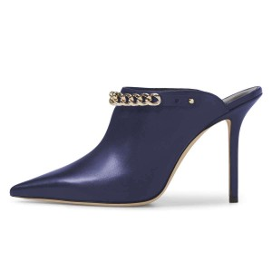 Navy Pointed Toe Stiletto Heel Mule Heels with Chains