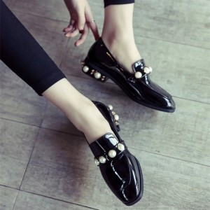 Navy Patent Leather Square Toe Low Heel Pearls Loafers for Women