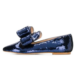 Navy Sequined Bow Pointy Toe Comfortable Flats