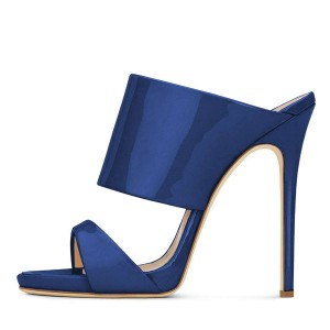 Navy Stiletto Heels Mule Heels