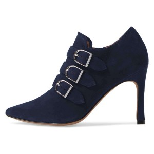 Navy Buckle Boots Pointy Toe Spool Heel Suede Ankle Booties
