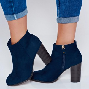 Navy Suede Chunky Heel Boots Ankle Boots for Women