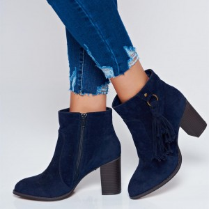 Navy Suede Chunky Heel Boots Ankle Boots with Tassel