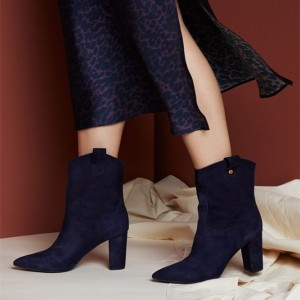 Navy Suede Chunky Heel Boots Pointy Toe Ankle Booties