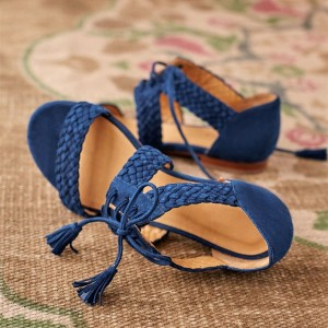 Navy Suede Flat Sandals Lace Up Open Toe Sandals