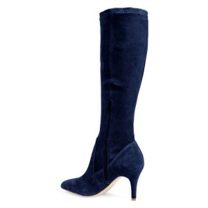 Navy Suede Knee-high Stiletto Boots for Women