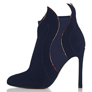 Navy Suede Stiletto Heel Fashion Ankle Booties