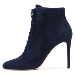 Navy Suede Stiletto Heel Lace Up Boots