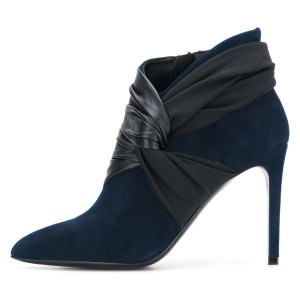 Navy Suede Tie Stiletto Heel Ankle Booties