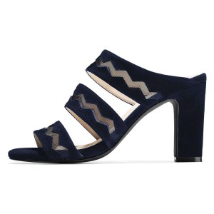 Navy Suede Tri Strap Chunky Heel Mules