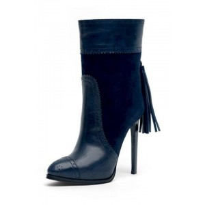 Navy Tassel Stiletto Boots Round Toe Fashion Ankle Boots