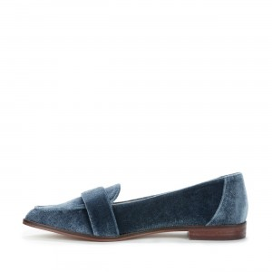 Cloud Blue Velvet Loafers for Women Pointy Toe Flats
