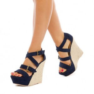 Navy Suede Heeled Wedges Open Toe Crisscross Strap Platform Sandals