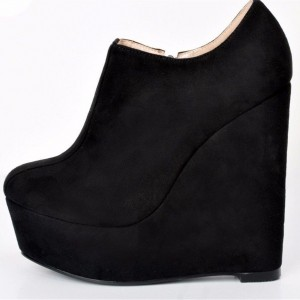 Custom Made Black Suede Wedge Booties