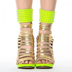 Lime Green Gladiator Sandals Open Toe Stiletto Strappy Heels For Women