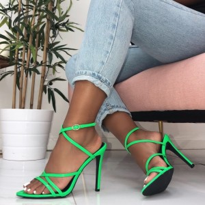Neon Green Cross Over Strappy Heels Sandals