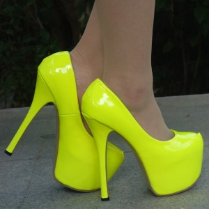 Neon Yellow Almond Toe Stiletto Heels Platform Pumps High Heel Shoes