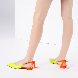 Neon Yellow Patent Leather Flat Slingback Shoes