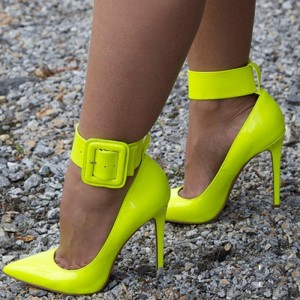 Neon Yellow Pointy Toe Ankle Strap Heels Buckle Stiletto Heel Pumps