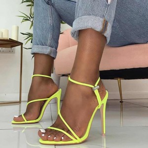 Neon Yellow Stiletto Heels Sandals