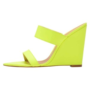 Neon Yellow Wedge Heels Mule Sandals
